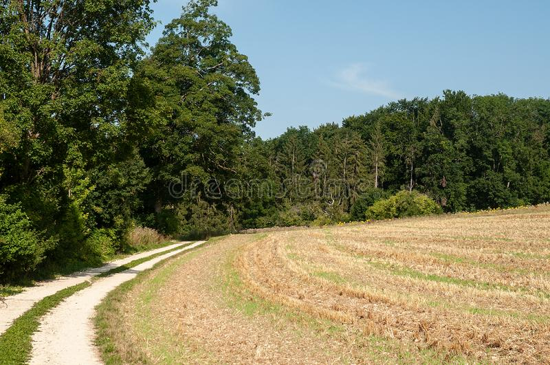 Rural landscape with gravel road in swabian alb. Single lane country road leading alongside harvested field and forest in swabian alb, germany royalty free stock photo