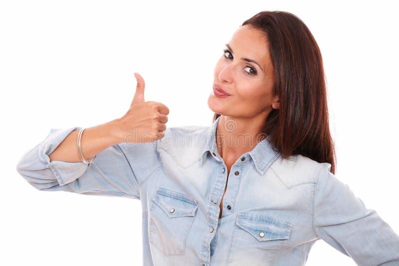 Download Single Latin Woman With Good Job Gesture Stock Photo - Image: 44534699