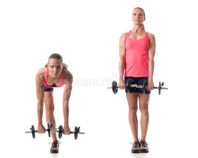 Single Leg Deadlift. Single-leg deadlift exercise. Studio shot over white stock photo