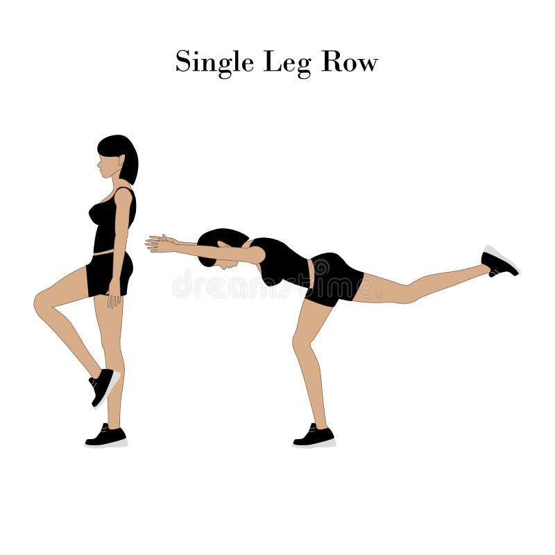 Single leg row exercise. On the white background. Vector illustration stock illustration