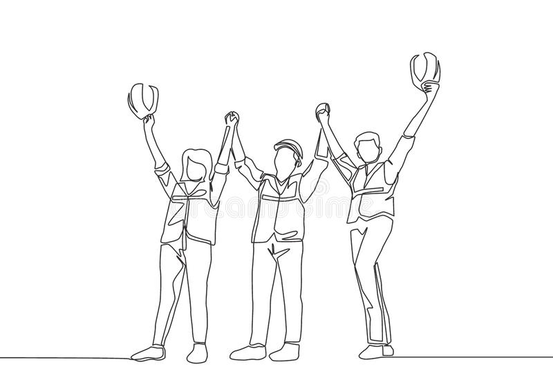 Single line draw of young architect woman and builder wearing construction vest fist their hands up the air to celebrate a project vector illustration