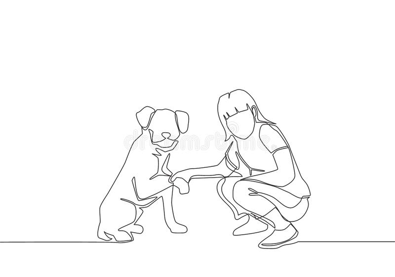Single line draw of young happy girl handshaking her adorable dog stock illustration