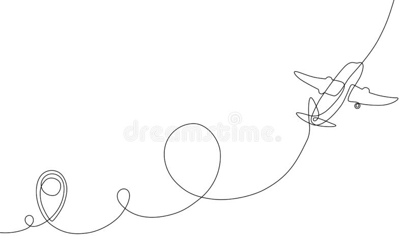 Single line drawing of airplane flight path with start point, one line art of jet airliner takeoff royalty free stock photography