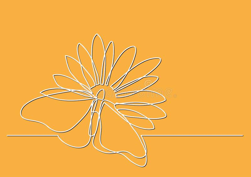 Single line drawing of butterfly and flowers royalty free illustration