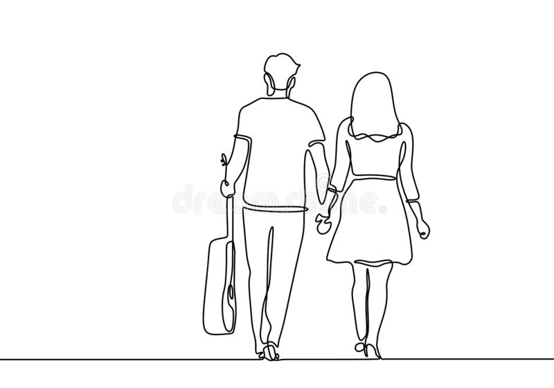 Single line drawing a couple holding hands with guitar romantic moment. Young teenager man and woman. Vector, illustration, isolated, sketch, linear, outline stock illustration