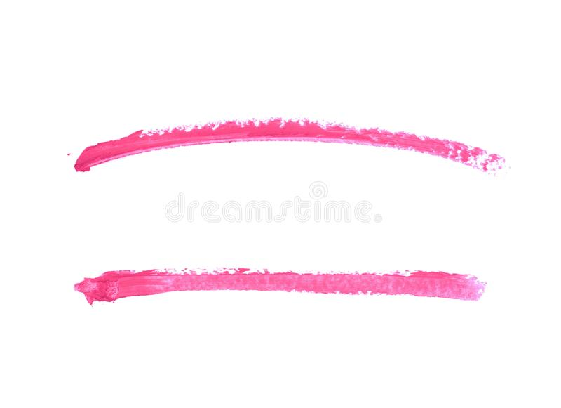 Single line marker stroke isolated. Single line marker stroke of a wax crayon as a design underline element, isolated over the white background, set of two royalty free stock photography