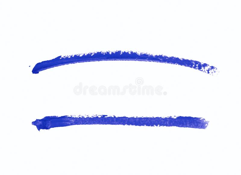 Single line marker stroke isolated. Single line marker stroke of a wax crayon as a design underline element, isolated over the white background, set of two stock photography