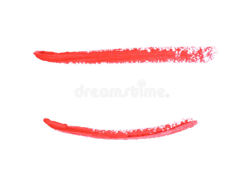 Single line marker stroke isolated. Single line marker stroke of a wax crayon as a design underline element, isolated over the white background, set of two stock photos