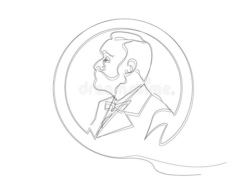 Single line sketch of man with beard. Music literature award, Man Head Profile coin icon. The award of the year, vector sketch royalty free illustration