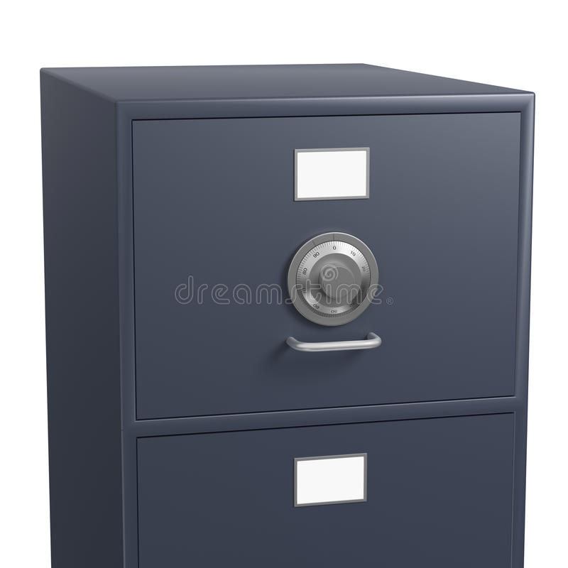 Single locked filing cabinet with safe lock dial stock photography