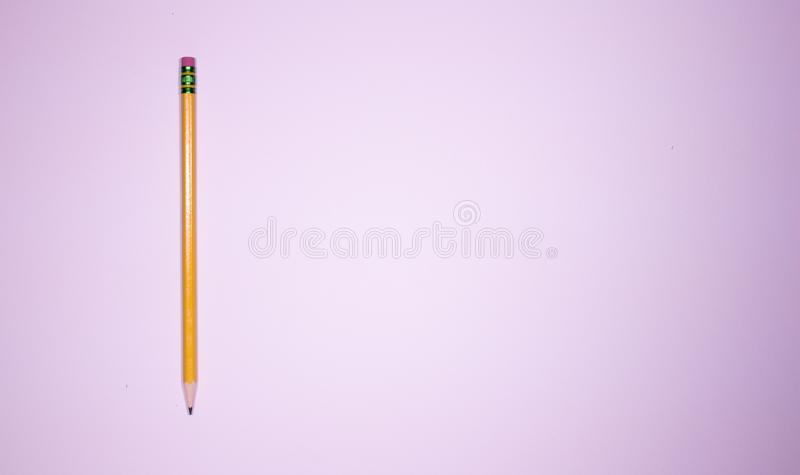 One single pencil isolated on a white background represeting loneliness stock images