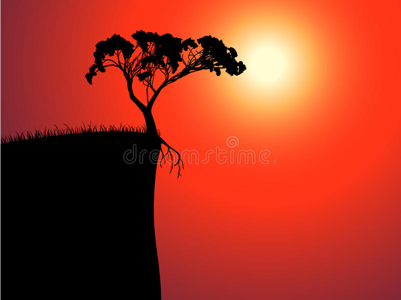 Single lonely tree on the brink. Sun in a fog vector illustration