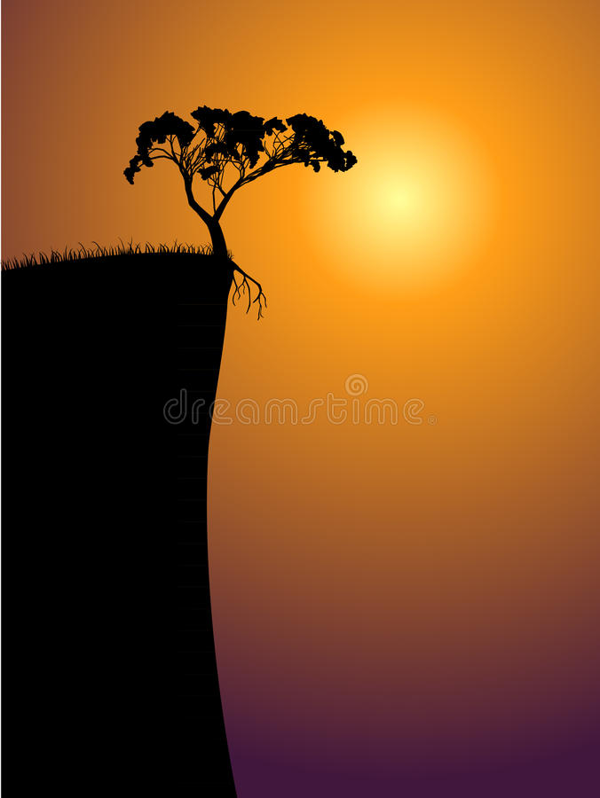 Single lonely tree on a precipice. Sun in a fog royalty free illustration