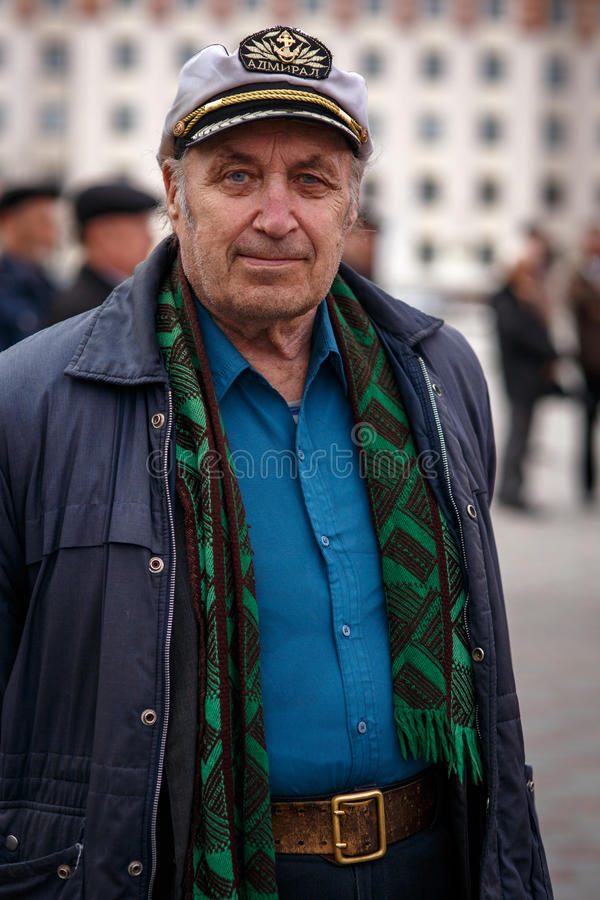 Single man in a cap. Tyumen, Russian Federation, 01/05/2014 stock image