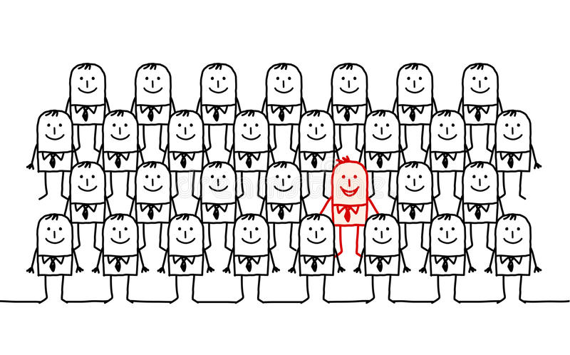 Single Man In A Crowd Stock Image