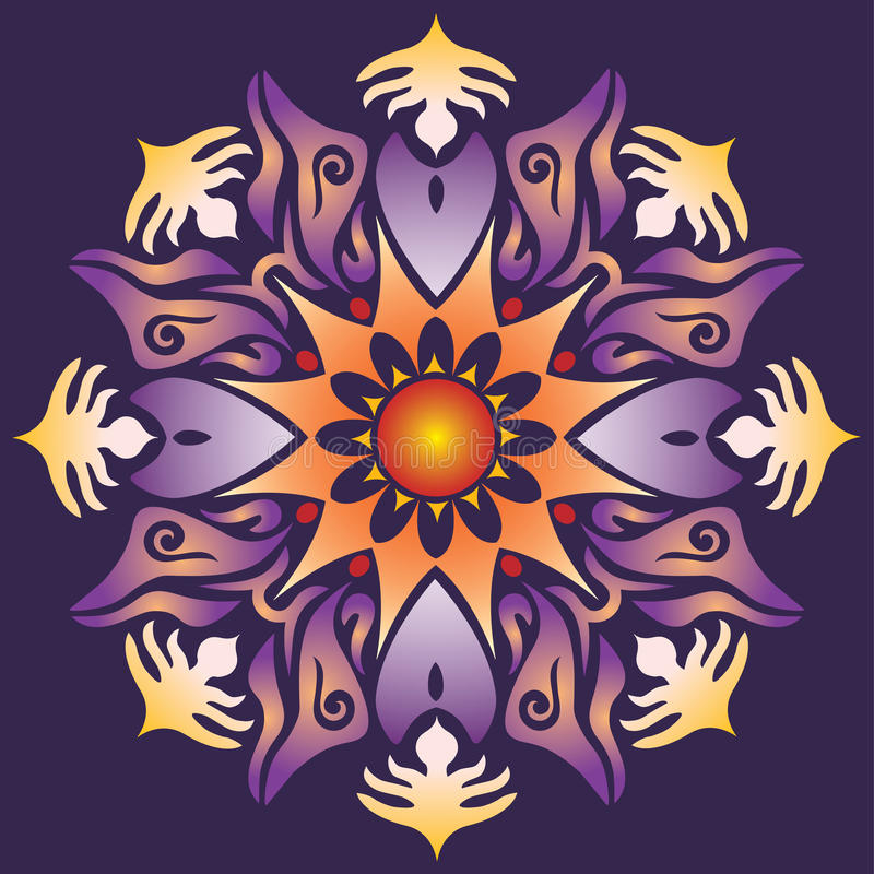 Single Mandala - Abstract Geometry Shapes Violet Orange Colors. Single Mandala - Abstract Geometry Shapes in Violet Orange Colors on Background vector illustration