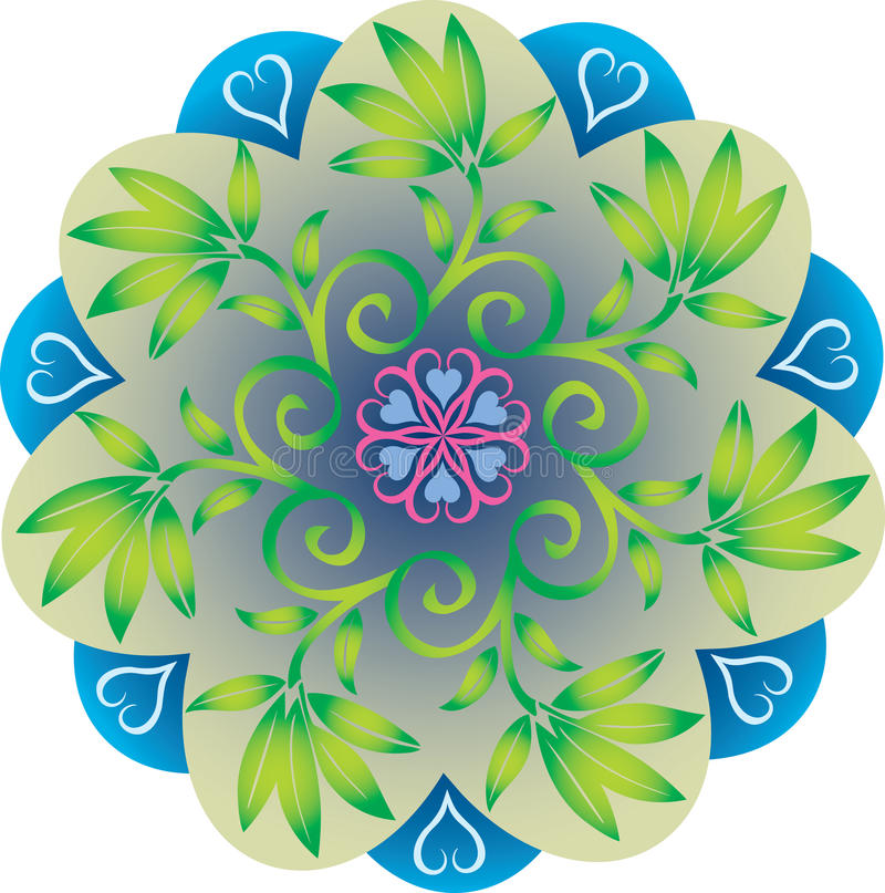 Single Mandala - Foliage Leaves Natural Green and Blue Colors stock illustration