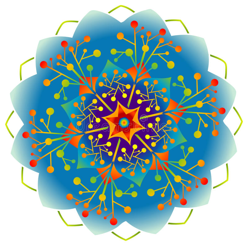Single Mandala - Rainbow Colors royalty free illustration