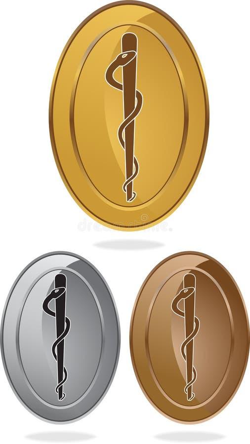single medicinska ovala för caduceus ormsymbol stock illustrationer