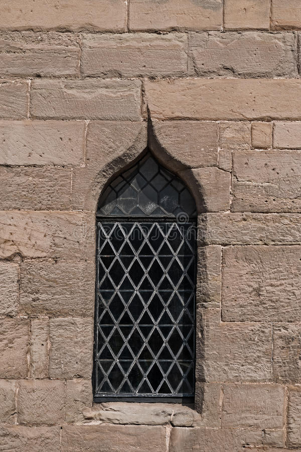 Free Single Medieval Castle Stained Glass Window Detail Close Up View Royalty Free Stock Photo - 61883785
