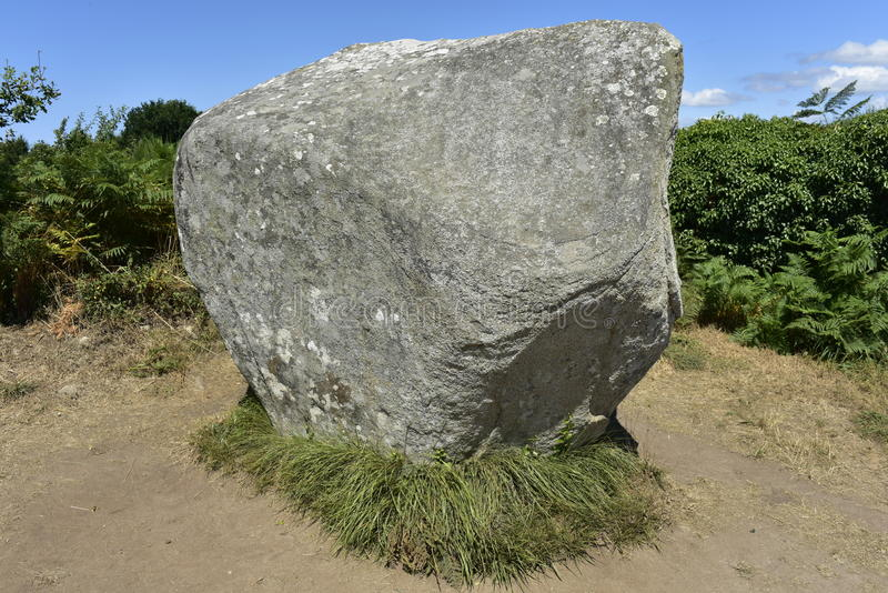 Single Megalith at the Carnac Stone Field, Brittany, France. For details please see royalty free stock photos