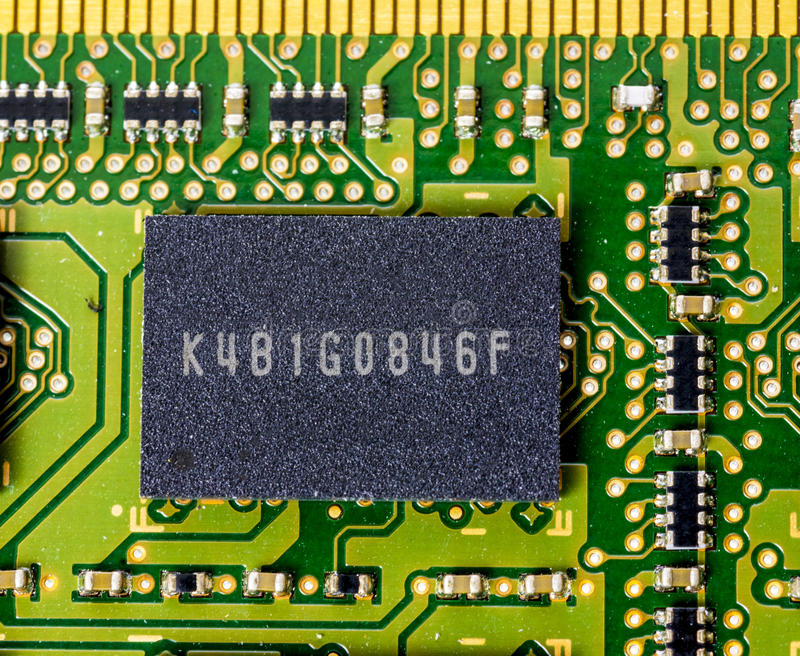 Single memory chip on a computer board stock photos