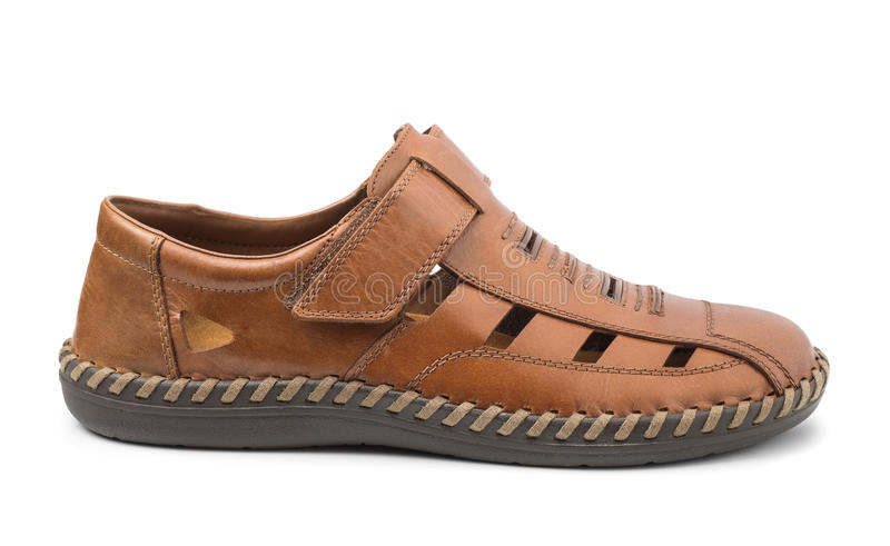Single men's brown leather sandal stock photography