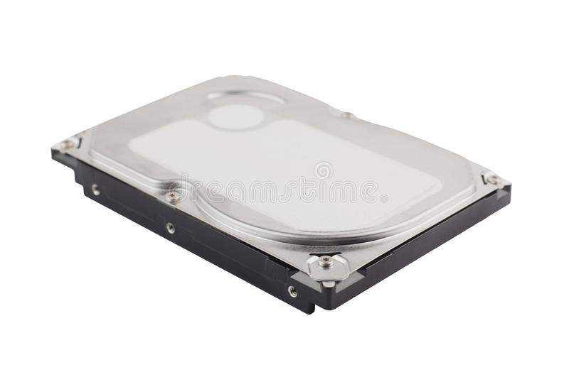 Single metal hard drive for personal computer or notebook isolated on white stock photo