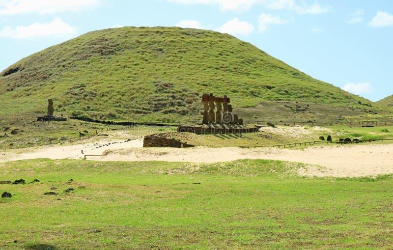 Single Moai of Ahu Ature Huki and Seven Moais of Ahu Nau Nau on Two Ceremonial Platforms at Anakena Beach on Easter Island, Chile stock images