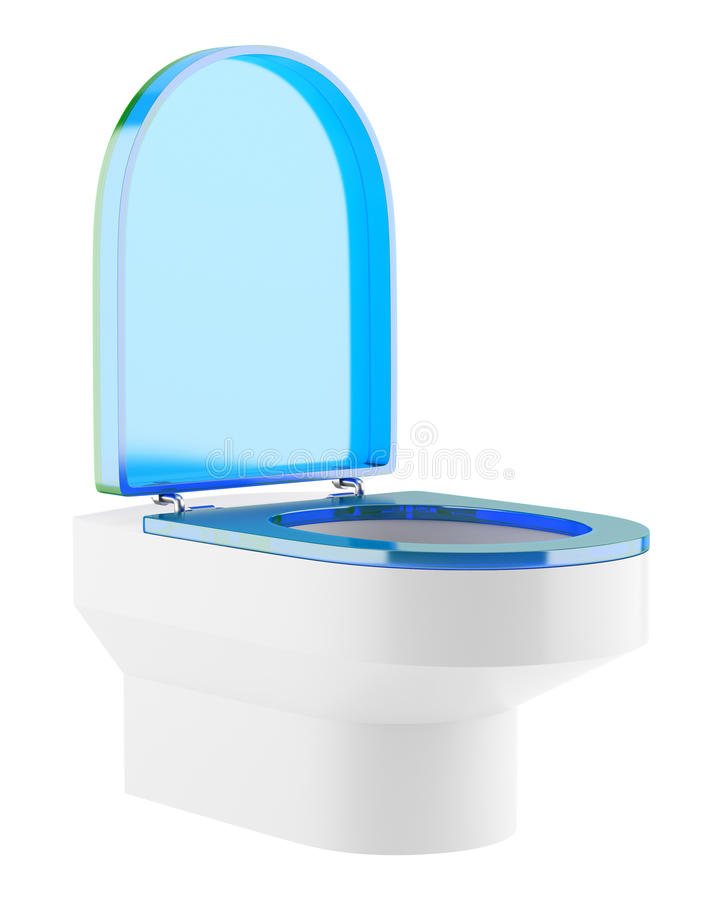 Single modern toilet bowl with blue cover isolated on white. Background vector illustration