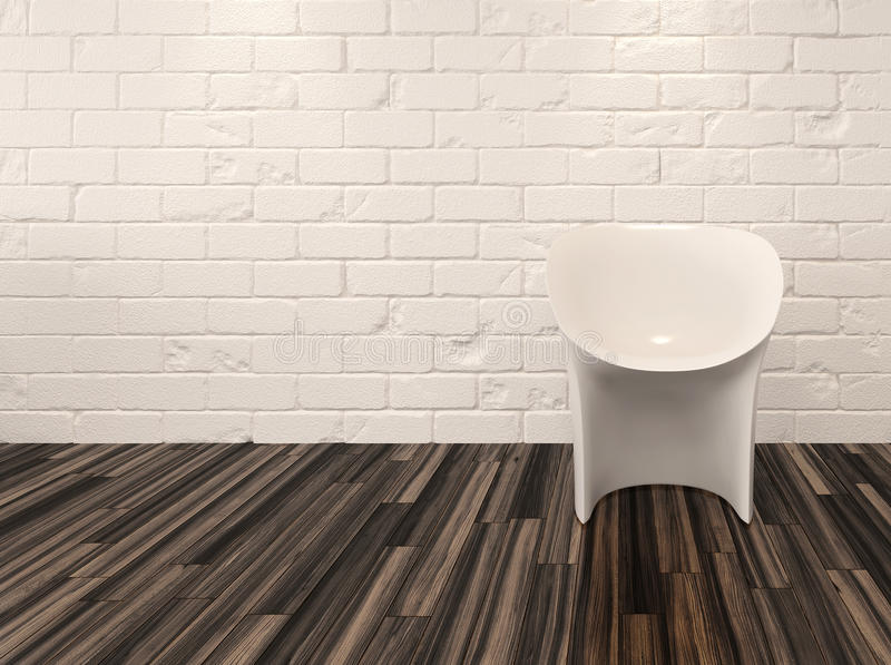 Single modern white chair against a brick wall. Single modern white chair against a whitewashed brick wall and recessed overhead down lights illuminating a vector illustration