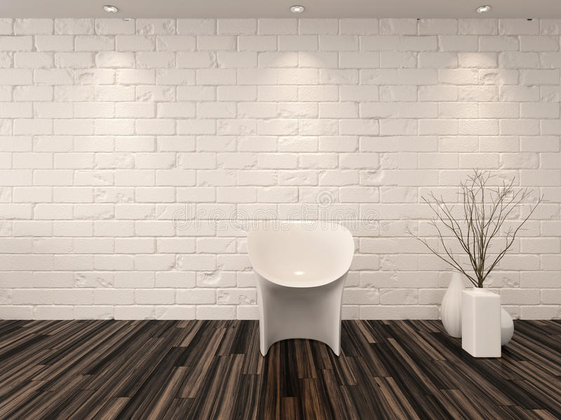 Single modern white chair against a brick wall. Single modern white chair against a whitewashed brick wall with vase ornaments and recessed overhead down lights stock illustration