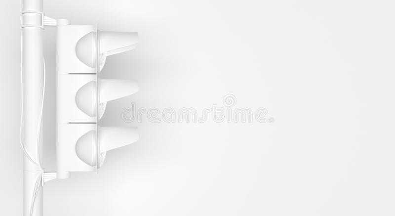 Single monochrome white traffic light in side view on white background. Creative conceptual illustration with copy space. 3D. Rendering vector illustration