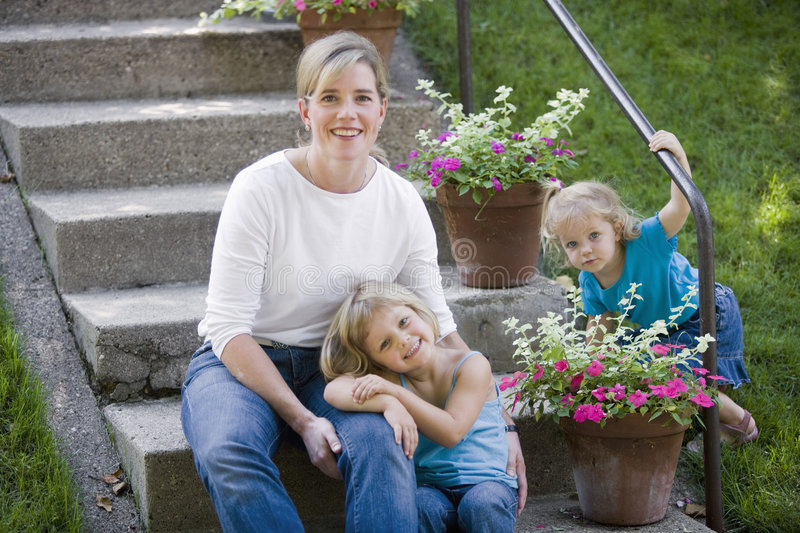 Single mother with children stock photo