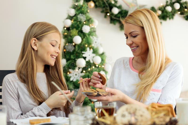 Single mother eating cookies with her young teenage daughter on Christmas morning royalty free stock image