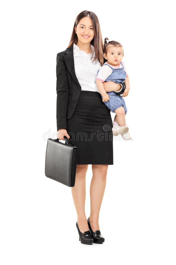Single Mother Holding Her Baby Daughter Stock Photo