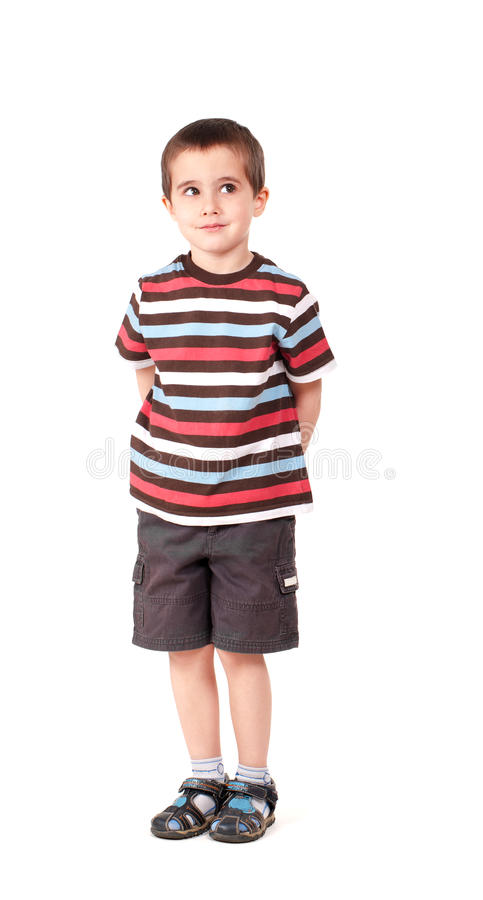 Single naughty little boy looking royalty free stock photos