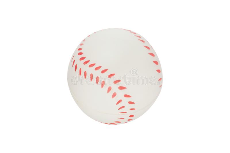 Single new clean small rubber toy in form of baseball ball isolated on white background. Top view stock image