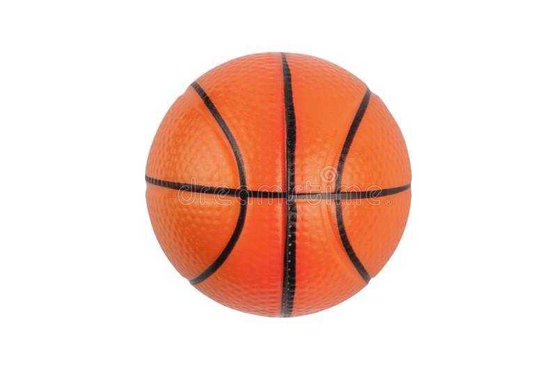Single new clean small rubber toy in form of basketball ball isolated on white background. Top view royalty free stock photos