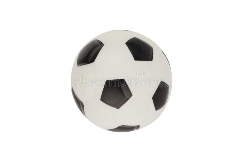 Single new clean small rubber toy in form of soccer ball isolated on white background. Top view. Clipping path royalty free stock image