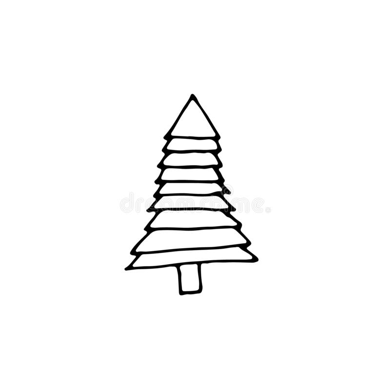 Single New Year and Christmas tree hand-drawn. Doodle Xmas illustration for winter posters, stickers, cards design. Isolate, EPS8 vector stock illustration