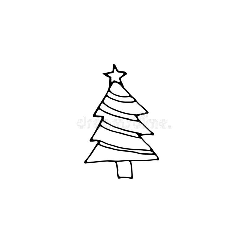 Single New Year and Christmas tree hand-drawn with star. Doodle Xmas illustration for posters, stickers, winter cards design. Isolate, EPS8 vector stock illustration