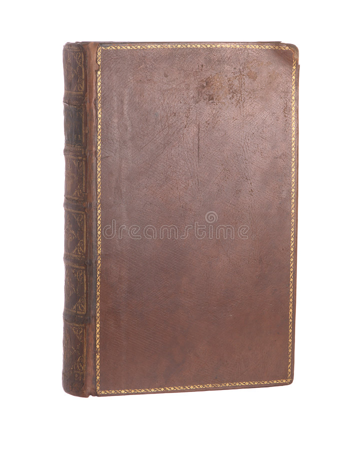 Single old leather bound book stock images
