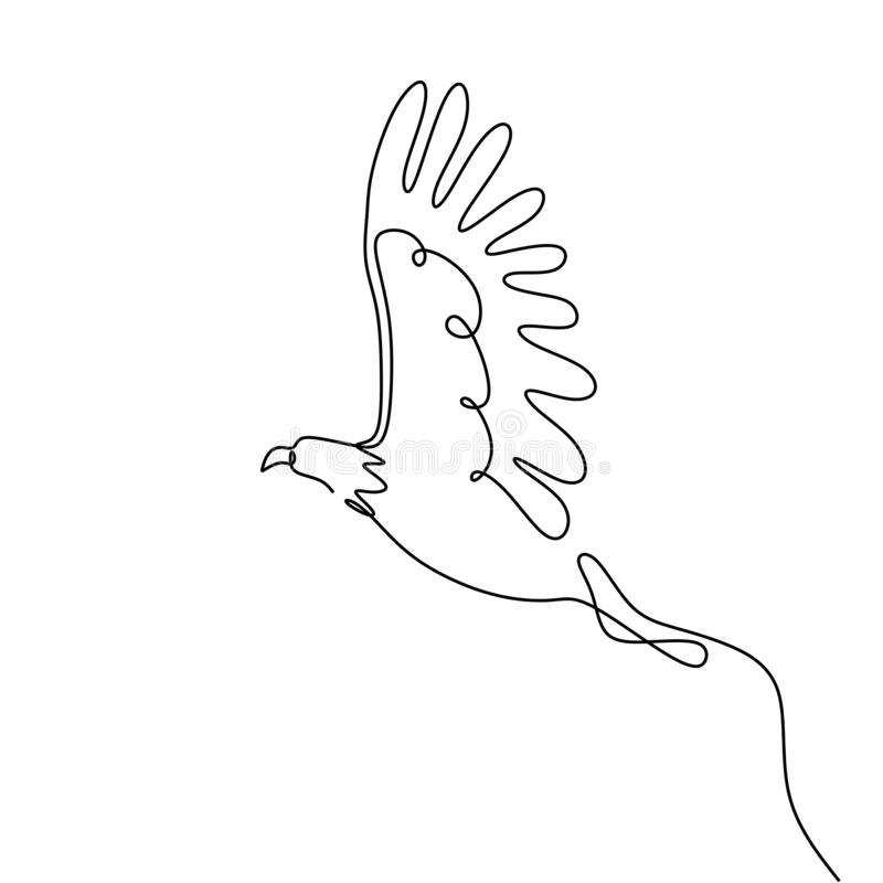 single one line drawing eagle bird flying continuous vector illustration minimalism design royalty free illustration