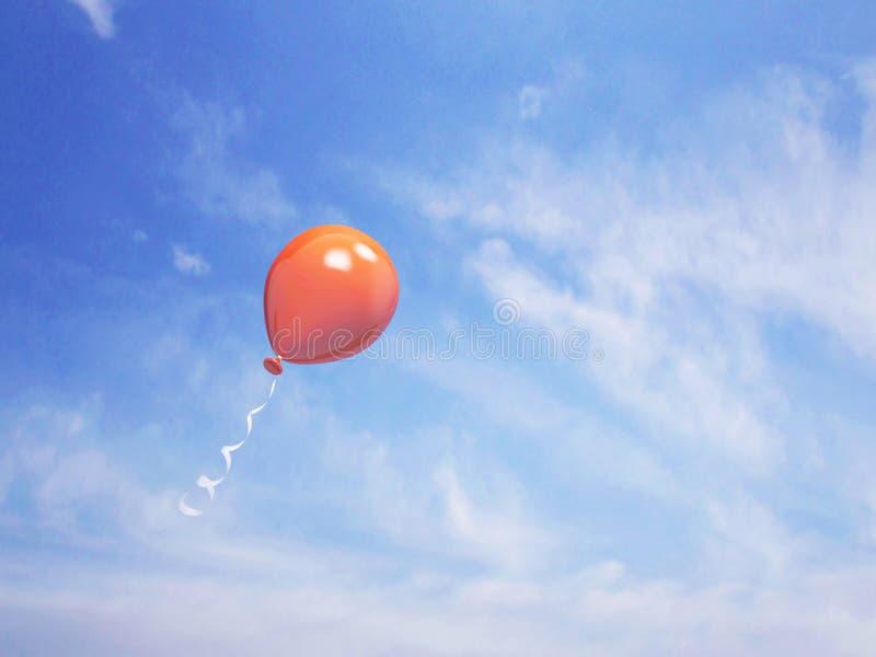 Single orange balloon in the blue sky vector illustration