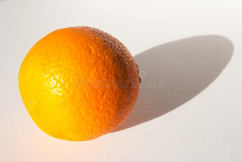Single orange with its shadow in a white background royalty free stock image