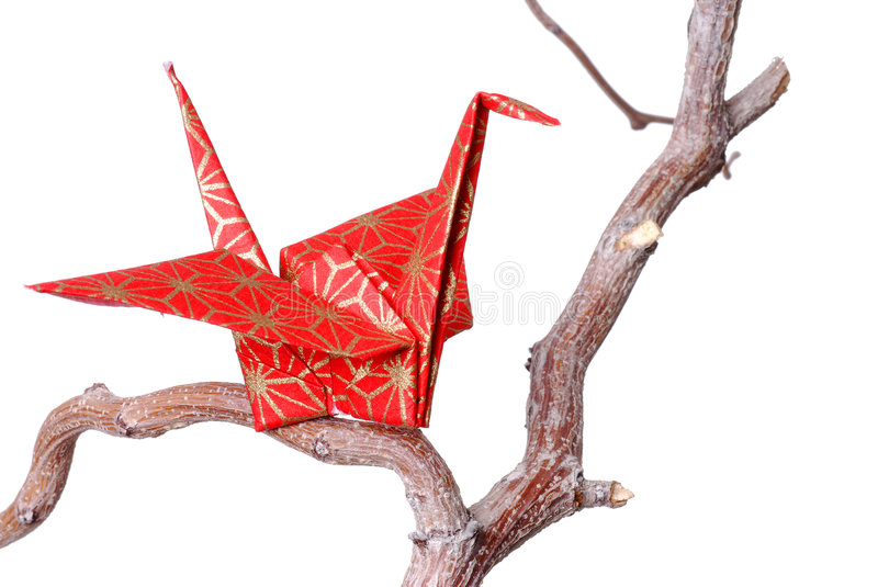 Single Origami Peace Crane. Red paper origami peace crane sitting on a bare branch royalty free stock photography