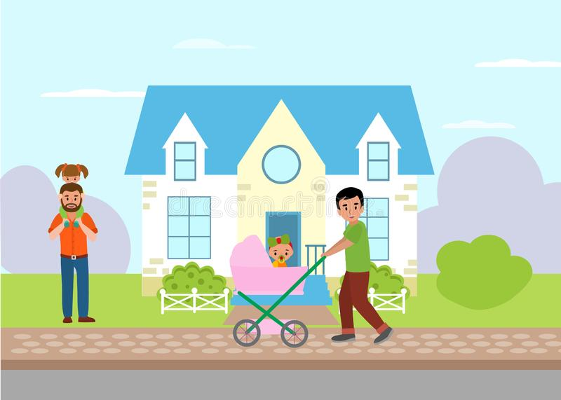 Single parent and fatherhood. Father walking with baby girl in pram and dad piggyback riding a daughter with cottage royalty free illustration