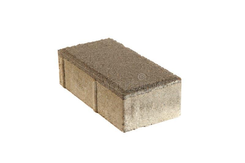 Single pavement brick, isolated. Concrete block for paving. Single pavement brick, isolated on white. Concrete block for paving stock image