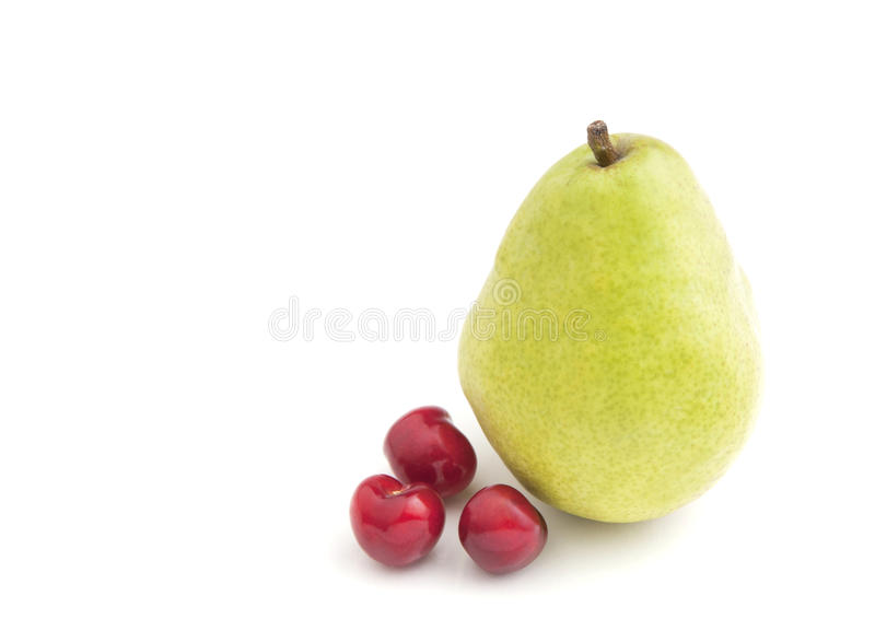 Single Pear And Cherries Royalty Free Stock Photo